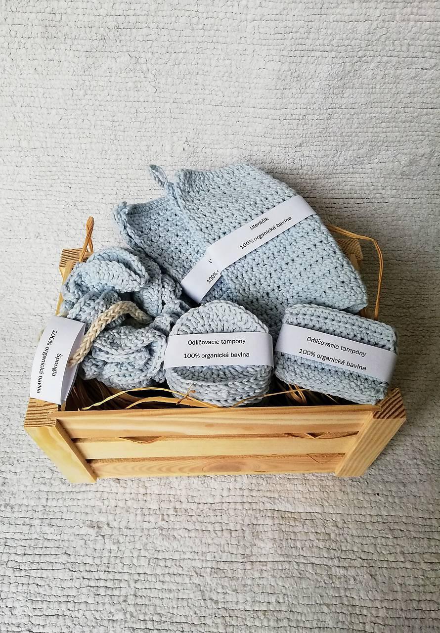 Háčkovaný kúpeľňový set zo 100 % organickej bavlny (Modrá)