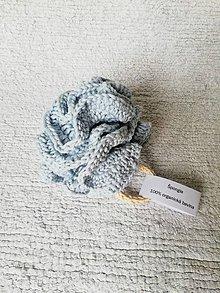 Úžitkový textil - Háčkovaná špongia zo 100% organickej bavlny (Modrá) - 9749643_