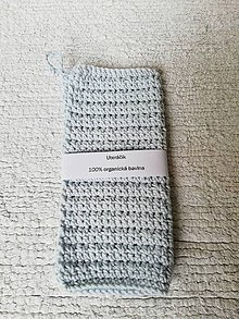 Úžitkový textil - Háčkovaný uteráčik zo 100% organickej bavlny  (Modrá) - 9749764_