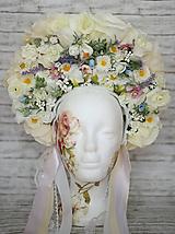 "Ozdoby do vlasov - Kvetinová bohato zdobená ľudová parta ""Sen nevesty"" - 9747204_"