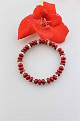 Náramky - prírodný červený koral disky náramok - 9747515_
