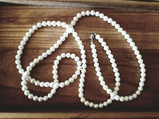Perlový, dlhý náhrdelník štýl Coco Chanell