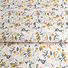 Textil - okrovo-ružové kvetinky, 100 % bavlna Francúzsko, šírka 160 cm - 9747772_