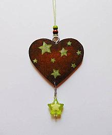 Dekorácie - Drevené závesné srdiečko Hviezdička (obojstranné) - 9748714_