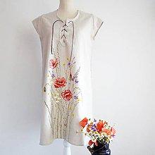 Šaty - Ľanové šaty s makmi - 9749917_