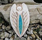 Dekorácie - Keramický anjel so sklom - 9750171_