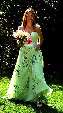 Šaty - Ručne maľované romantické svadobné šaty