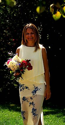 """Šaty - Ručne maľované krásne smotanové svadobné šaty  """" blue rose"""" - 9748192_"""