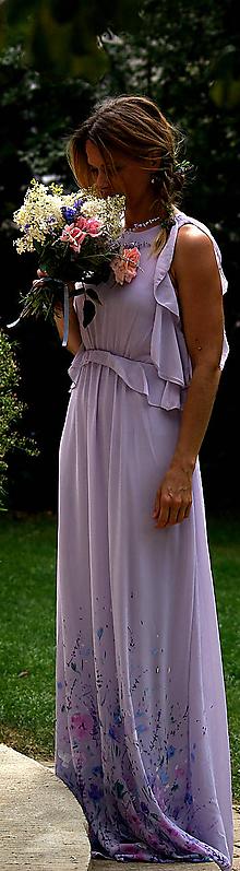 """Šaty - krásne ručne maľované  svadobné šaty - """"Boho lilac"""" - 9748309_"""