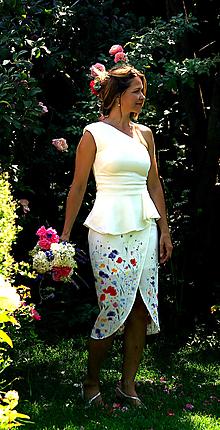 """Šaty - Ručne maľované nežné svadobné šaty """"meadow midi"""" - 9748692_"""