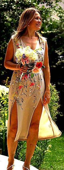 """Šaty - Ručne maľované béžové svadobné šaty  """" vintage beige """" - 9749045_"""