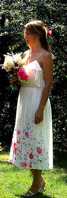 """Šaty - Ručne maľované nežné svadobné šaty """"meadow midi"""" - 9749344_"""