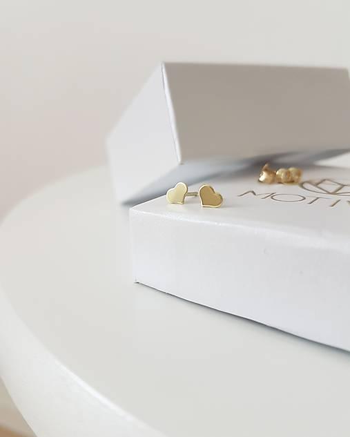 7b2905043 Náušnice srdiečka žlté zlato / Motivo - SAShE.sk - Handmade Náušnice