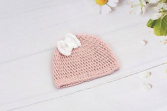 Detské čiapky - Ružovo-biela letná čiapka EXTRA FINE - 9748504_