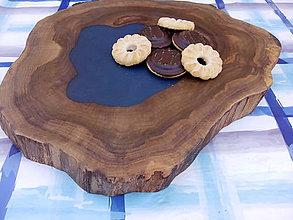 Pomôcky - Drevená podložka ORECH modrá - 9748730_