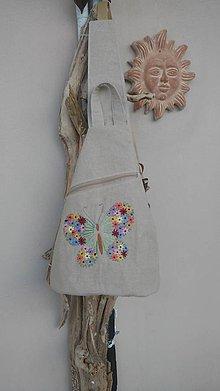 Batohy - Ľanový batoh s ručnou výšivkou - 9749523_
