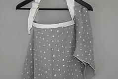 Tehotenské/Na dojčenie - Šatka na dojčenie s plienočkou Gray Hearts - 9750271_