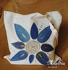 Nákupné tašky - Nákupná taška ľanova s riflovinou- Slnko - 9750156_