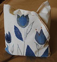 Nákupné tašky - Nákupná taška ľanová s riflovinou-Tulipány - 9750192_