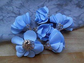 Polotovary - Textilné kvety, filigrán - pár (Modrá) - 9749817_