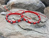 Náramky - Set shamballa červený s hematitom - 9748324_