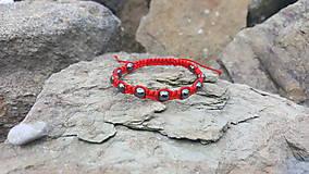 Náramky - Shamballa červený s hematitom - 9748513_