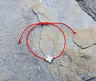 Náramky - Náramok s krížikom (Červená) - 9748605_