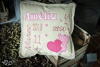 """Úžitkový textil - Vankúšik pre novorodenca """"Amélia"""" - 9753463_"""