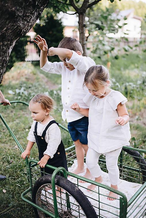 Detské oblečenie - Dievčenská ľanová sukňa na traky - 9751944_