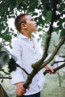 Detské oblečenie - Chlapčenská ľanová košeľa (140 - Modrá) - 9751854_