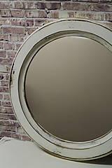 Zrkadlá - Vintage okrúhle zrkadlo -zlatá patina  - ZĽAVA - 9751117_