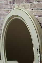 Zrkadlá - Vintage okrúhle zrkadlo -zlatá patina  - ZĽAVA - 9751121_