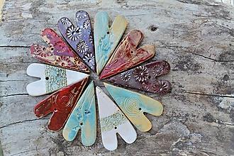 Dekorácie - keramické srdiečka s potlačou - 9751886_