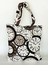 Nákupné tašky - Skladacia eko nákupná taška hodiny - 9752034_