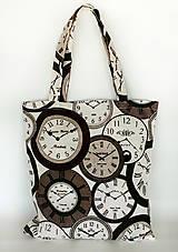 Nákupné tašky - Skladacia eko nákupná taška hodiny - 9752035_