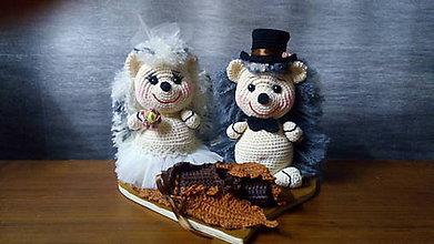 Socha - Svadobný pár - ježkovia - 9752460_