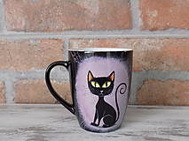 Nádoby - Čierny hrnček - Black Cat - 9751801_