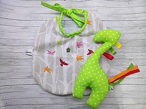 Hračky - Set podbradník a hrkálka žirafa vtáci pre bábätko - 9753595_