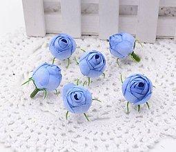 Polotovary - Púčiky ružičky 2 cm  (Dúhovo modré) - 9752948_