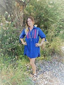 Šaty - Modré Ľanové - 9751984_