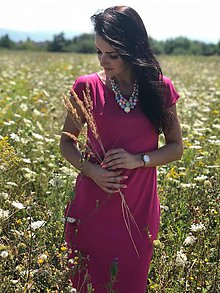 Tehotenské oblečenie - Šaty na dojčenie BASIC - Fuchsia - 9751008_