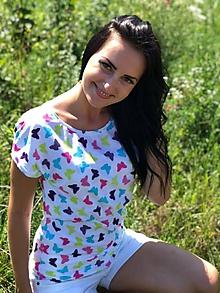 Tehotenské oblečenie - Tričko na dojčenie - motýle - 9751808_