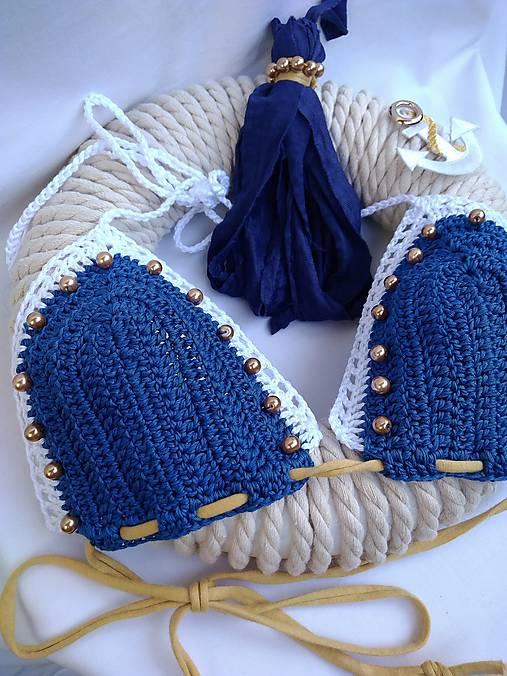 170c39cc79c Háčkované plavky NAVY STYLE   QUEENDI - SAShE.sk - Handmade Bielizeň ...