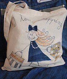 Nákupné tašky - Nákupná taška ľanová s riflovinou- Dáma s nákupom:) - 9752097_