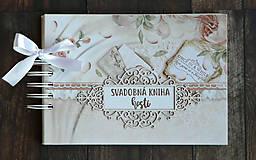 Papiernictvo - Púdrová elegancia-svadobná kniha hostí jemná/kniha prianí - 9752684_