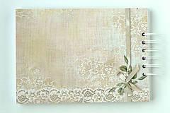 Papiernictvo - Púdrová elegancia-svadobná kniha hostí jemná/kniha prianí - 9752685_