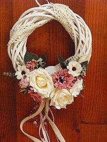 Dekorácie - Vintage venček s krajkou v ivory a staroružovej farbe - 9751357_