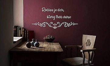 Dekorácie - Nálepky na stenu - Rodina je dar (Biela) - 9750844_