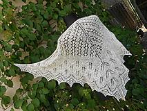 Šatky - Pletený krajkový šátek...angora 2 - 9756764_