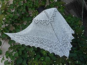 Šatky - Pletený krajkový šátek...angora 1 - 9756753_